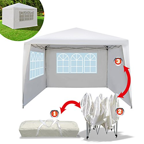 BenefitUSA EZ POP UP Wedding Party Tent 10'x10' Folding Gazebo Beach Canopy W/Carry Bag with sidewalls Side Panel