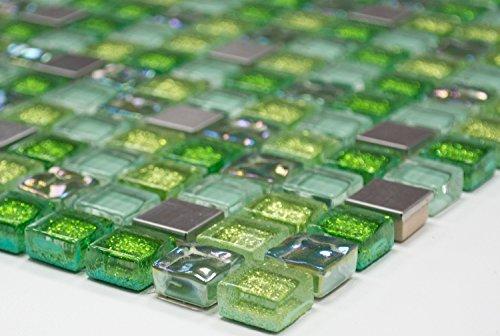 Mosaik Quadrat Crystal/Stahl mix grün Glasmosaik Transluzent Transparent 3D, Mosaikstein Format: 15x15x8 mm, Bogengröße: 305x322 mm, 1 Bogen/Matte