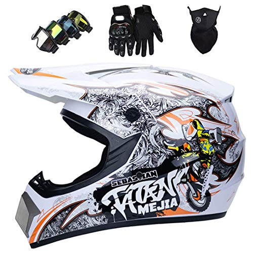 Casco de moto para niños adultos, casco de motocross/MX, casco completo MTB ATV Dirt Bike Off-Road Enduro Downhill Cross Casco con gafas/máscara/guantes