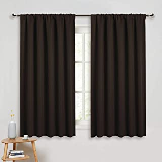PONY DANCE Kitchen Curtain Panels - Blackout Window Drapes Room Darkening Short Curtains Home Decoration Window Coverings with Rod Pocket, W 52 x L 45 inches, Chocolate Brown, 2 PCs