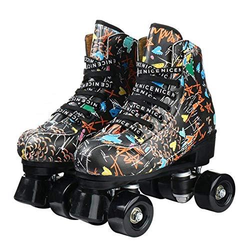 Zapatos de Cuero Negro Roller Skates Línea Doble Patines de Las Mujeres señora Adulta PU 4 Ruedas Dos líneas de Patinaje de Interior al Aire Libre xuwuhz (Size : 36)