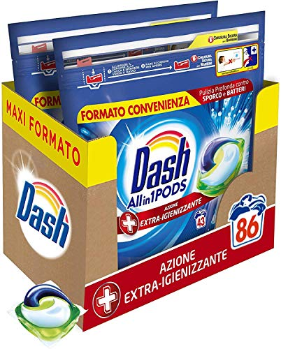 Dash All in 1 Pods Detersivo Lavatrice in Capsule, 86 Lavaggi (2 x 43), Azione Extra-Igienizzante, Maxi Formato, Rimuove le Macchie, Per Tutti i Capi