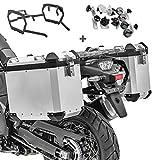 Maletas Laterales Aluminio + Soporte para Suzuki V-Strom 650 / XT 17-21 GX45 Plata