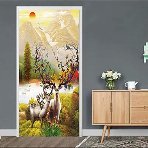 BXZGDJY deurbehang, zelfklevend, zelfklevend, deurposters, zelfklevend, 3D-deur-raam-behang, verwijderbare deur, decoratieve afplakaat muursticker voor doe-het-zelf interieur, 77X200CM