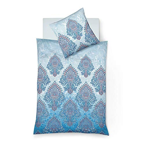 fleuresse Mako-Satin Bettwäsche Bed Art S Kemi blau 1 Bettbezug 135 x 200 cm + 1 Kissenbezug 80 x 80 cm