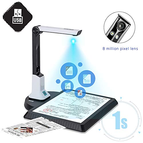 Best Buy! Document Cameras Scanner, Portable High Speed Book Document Camera 8 Megapixel, Max A4 Siz...