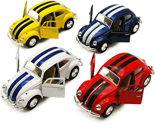 """Set of 4 Cars: 5"""" Classic 1967 Volkswagen Beetle with Racing Stripes 1:32 Scale (Blue/Red/White/Yellow)"""