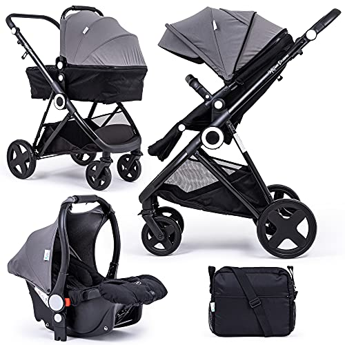 For Your Little One Million Dreams 3 in 1 Travel System - Dark Grey inc Pushchair, Newborn Car Seat, Separate Carrycot, Changing Bag with Mat, Raincover and Apron
