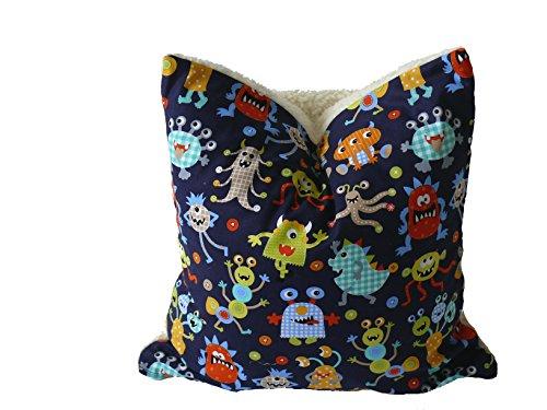 Fitzibiz Kinderkissenbezug Monster, Öko-Teddy, Monsterdruck, weiß, bunt, 40x40cm auch in Anderen Größen verfügbar