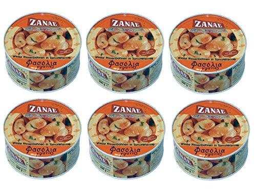 6x dicke weiße Bohnen in Tomatensoße aus Griechenland 6 Dosen Riesenbohnen weiße Butterbohnen in Tomatensauce Zanae + gratis Probiersachet Olivenöl 10 ml aus Kreta