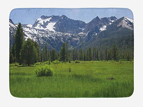 ABAKUHAUS Idaho Tapete para Baño, Diente de Sierra Paisaje Foothill, Decorativo de Felpa Estampada con Dorso Antideslizante, 45 cm x 75 cm, Ceil Azul Verde Verde Oliva