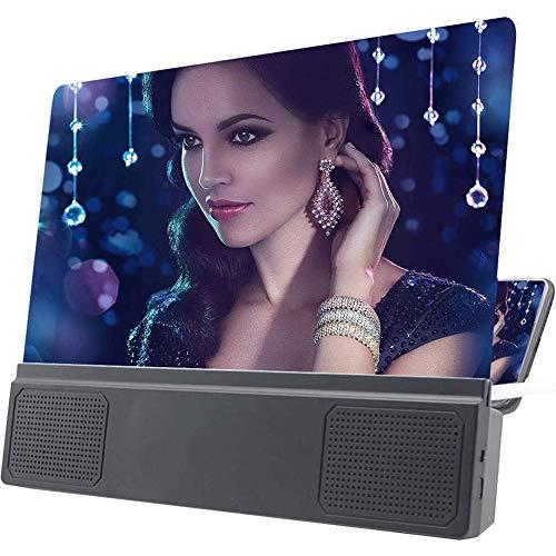 Fengxian Handy-Bildschirmlupe Verstärker mit Lautsprecher 3D HD-Film Video Handy-Bildschirm-Vergrößerungs-Projektor für alle Smartphones Android und Telefon