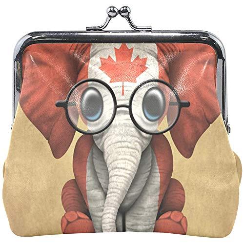 Baby Elefant mit Brille und kanadische Flagge Kinder Geldbörse Frauen Geldbörse Münzkoffer wechseln