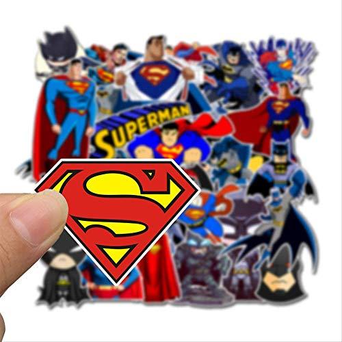 45 pegatinas de tabla con ruedas de dibujo animado de Superman Batman de viaje de caja de viaje, pegatinas europeas y americanas de animación de graffiti