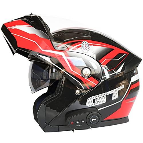 Casco Moto Bluetooth Integrado,Modular Casco de Moto Scooter para Adultos Mujer Hombre con Doble Visera, Casco de Motocicleta ECE Homologado (Color : B, Size : (2XL 63-64CM))