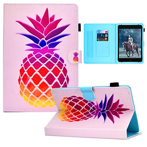 Universal 8.0 Inch Tablet Case, Card Slots Folio Stand Cover for All 7.5-8.5 inch iPad Mini 1 2 3 4,Galaxy Tab 8.0, Fire HD 8,Lenovo Tab 8.0,Huawei 8.0 Android iOS 8.0 Tablet -Pink Pineapple