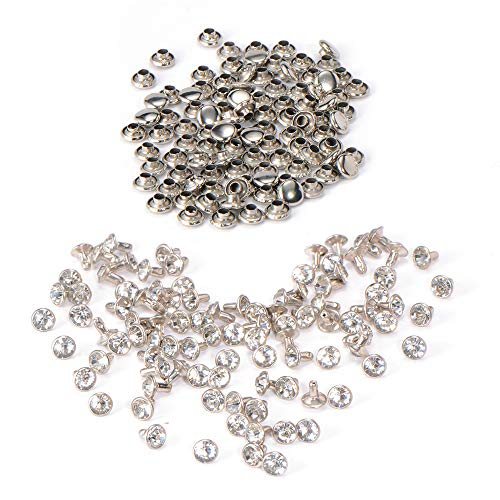 100 Stück SilberStrassnieten Crystal Nieten 7mm Ziernieten Schmucknieten Hohlnieten Kleidung Leder Tasche Gürtel Nähen Deko Nieten SurePromise Metall DIY Rivets
