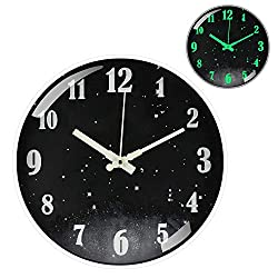 12 Inches Modern Silent & Non-Ticking Wall Clocks, Night Light Wall Clock, Large Round Clocks for Office, Kitchen, Living Room, Bedroom, Battery Operated(Star)