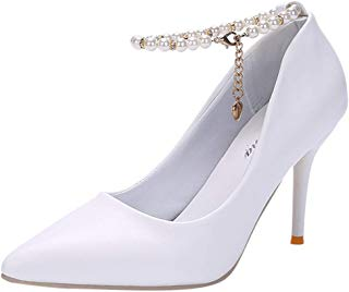 Hunzed Women【Pearl High Heels】 Stiletto Shoes for Women Pointed Closed Toe Classic Slip On Pearl Dress Pumps