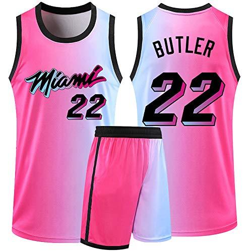 Camiseta De Baloncesto Para Hombre Miami Heat, Jimmy Butler # 22 Camiseta De Malla Bordada De Poliéster Uniforme, Equipo De Baloncesto, Ropa Deportiva, Camiseta Para Aficionados Sin Mangas,Rosado,XL