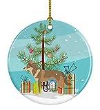 Lplpol Adorno redondo de cerámica de perro lobo checoslovaco, árbol de Navidad, CT082