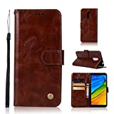 Eryanone Protective case for Xiaomi for Xiaomi Redmi 5 Plus Retro Copper Button Crazy Horse Horizontal Flip PU Leather Case with Holder & Card Slots & Wallet & Lanyard(Wine Red) (Color : Brown)