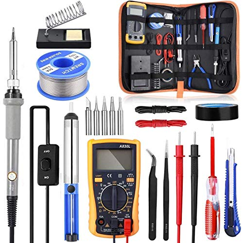 ZHQHYQHHX Lötkolben Kit mit ON/Off Schalter, Rarlight 60W 110V einstellbare Temperatur Verschmelzen-Werkzeug Lötkolben (Color : Grau, Plug Type : AU)