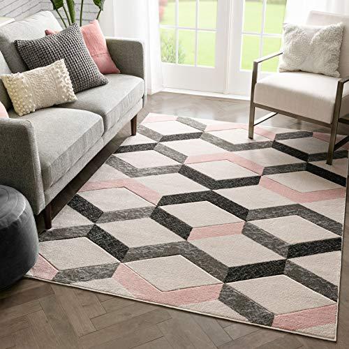 "Well Woven Mandy Blush Pink Modern Geometric Zigzag Stripes Pattern Area Rug 8x10 (7'10"" x 10'6"")"