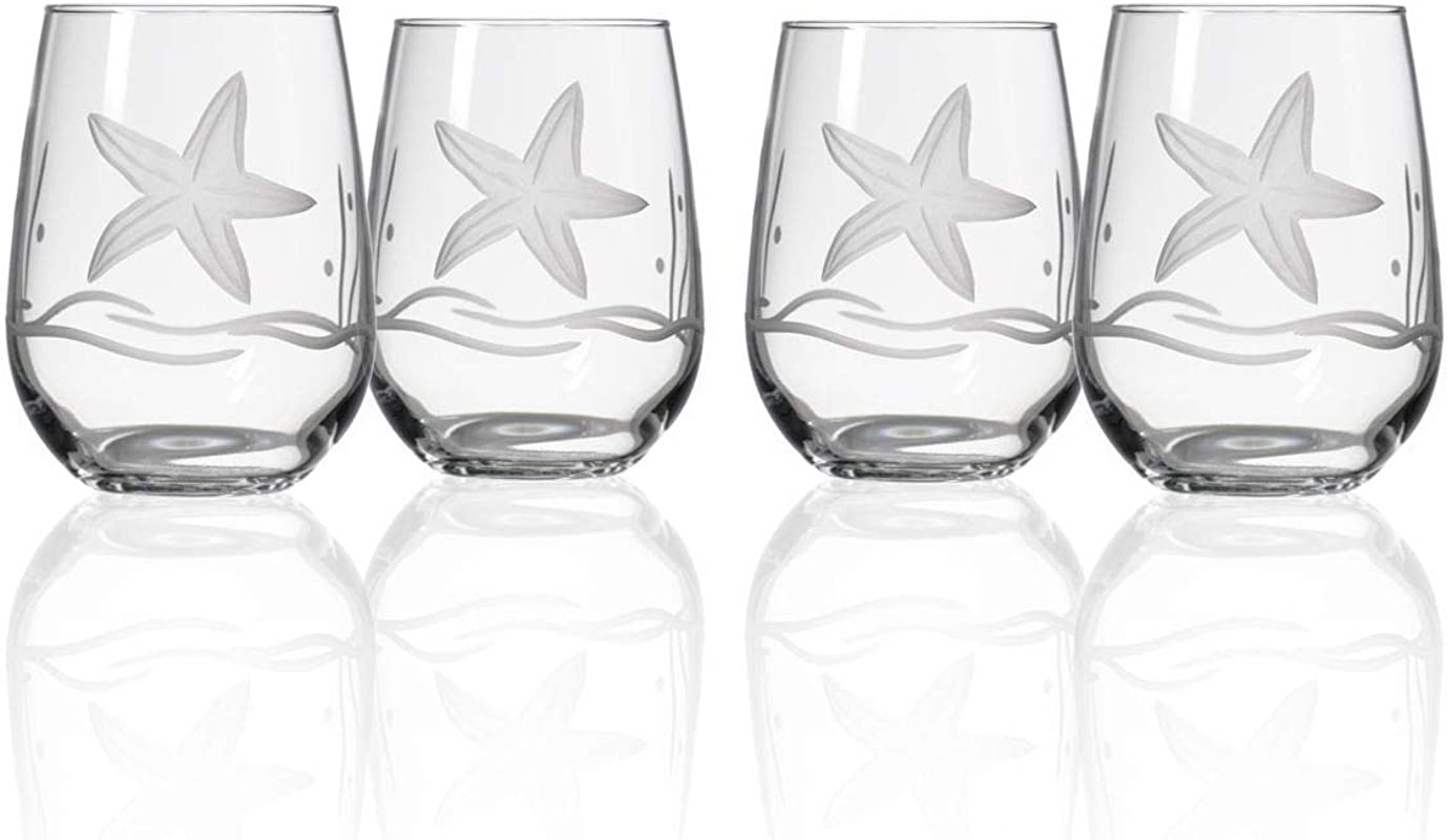 Starfish Stemless Wine Glass Set Of 4