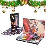 Soulpala 15 Colores Pintura de cara Facial para Niños Kit con 2 Pinceles 4 Moldes Pinturas Cara y Corporales Pintadas Lavable Pintura Corporal para Halloween, Carnaval, Navidad, Fiestas de Maquillaje