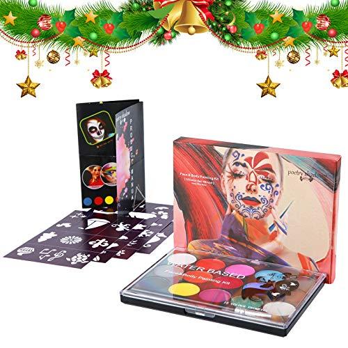 Soulpala15 Colori Trucco Viso Bambini con 4 Stencil 2 Pennelli,Body Painting e Pittura Facciale tavolozza Lavabile Trucco Bambini per Halloween Carnevale Settimana Santa Feste Compleanno Natale