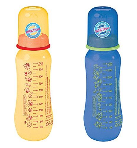 Baby Nova 2 Stk PP Babyfläschchen Standardflasche 240 ml tailliert Silikon gelb blau