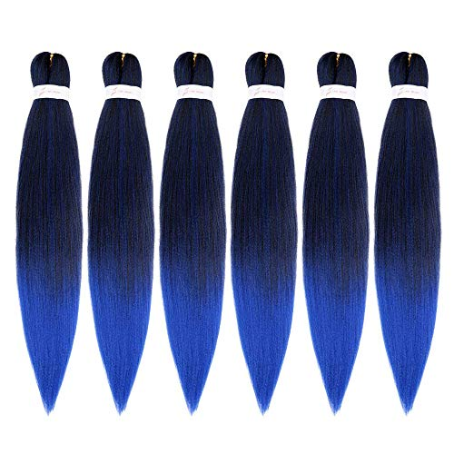 Ombre Blue Color Pre Stretched Braiding Hair 20inch 6Packs Itch Free Hot Water Setting Yaki Texture for Crochet Twist Box Braiding Hair Extensions (T1B/Blue)