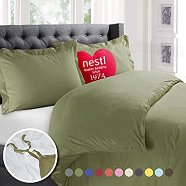 Nestl Bedding Duvet Cover, Protects and Covers your Comforter/Duvet Insert, Luxury 100% Super Soft Microfiber, King Size, Color Sage Green, 3 Piece Duvet Cover Set Includes 2 Pillow Shams