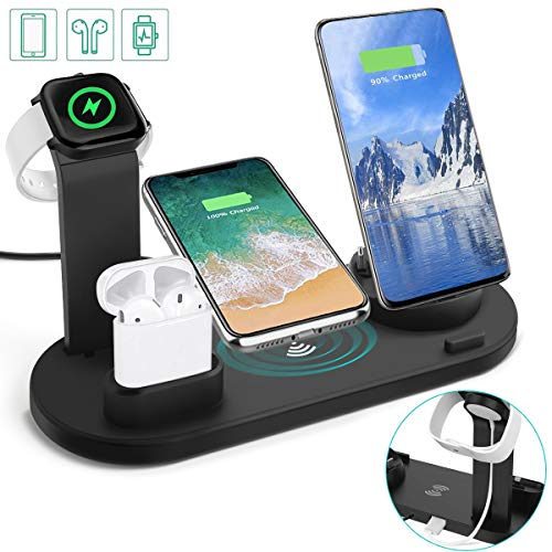 Auzev Wireless Charger kabelloses Ladestation 6 in 1 Ladestation Ständer für Apple,Watch, Airpods und Smartphone, Schnelle Qi Ladestation für iPhone XR/XS/X/8 Plus/8 Samsung Huawei Xiaomi usw