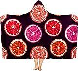 Coperta con cappuccio Limone indossabile coperta calda mantello scialle coperta coperta adatta per bambini, adulti e adolescenti 50x40 inch
