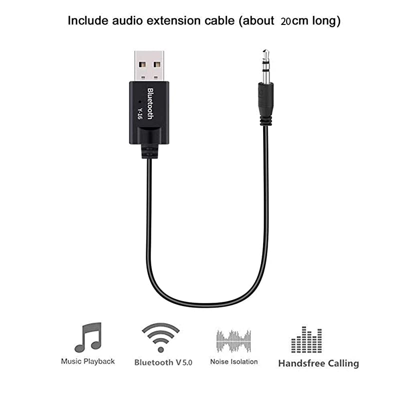 Futureshine Y-16 Bluetooth 5.0 Transmitter Receiver USB 3.5mm AUX Stereo Music Wireless Audio Adapter for Car TV Headphone Speaker uembsnfn311414