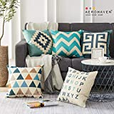 AEROHAVEN Cotton Abstract Decorative Throw Pillow/Cushion Covers (Multicolour, 16 x 16 inch) Set of 5