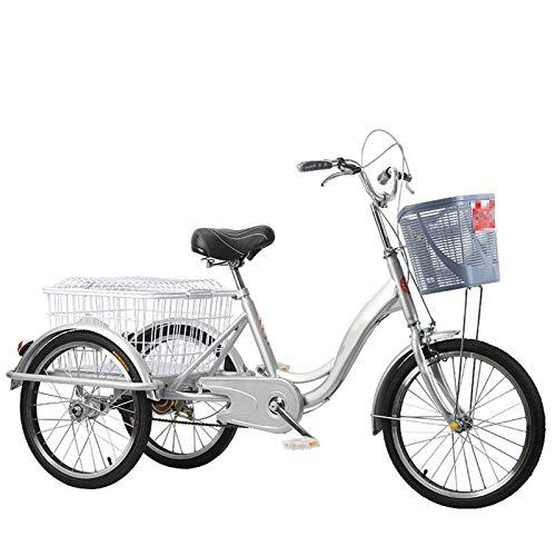 TWW Menschliche Dreiräder Für Fahrräder, Ältere Erwachsene, Fitness-Transport, Tret-Dreiräder, Freizeitkorbwagen, Sportfahrräder,Grau