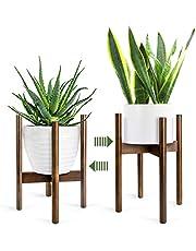 Stojak na rośliny, retro na połowie wieku z możliwością rozszerzenia roślin, drewniana podstawka na doniczkę do wewnątrz i na zewnątrz, donica do 21 cm (1 sztuka)