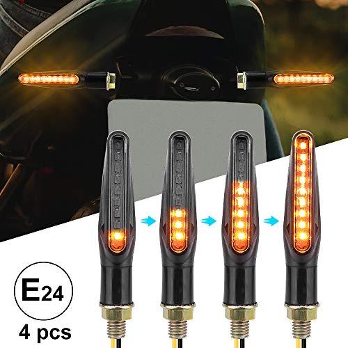 4 PCS Intermitentes Moto Homologados E24 Universal 12V 9 LEDS Luces Indicador de Señal de Giro Indicator Faros