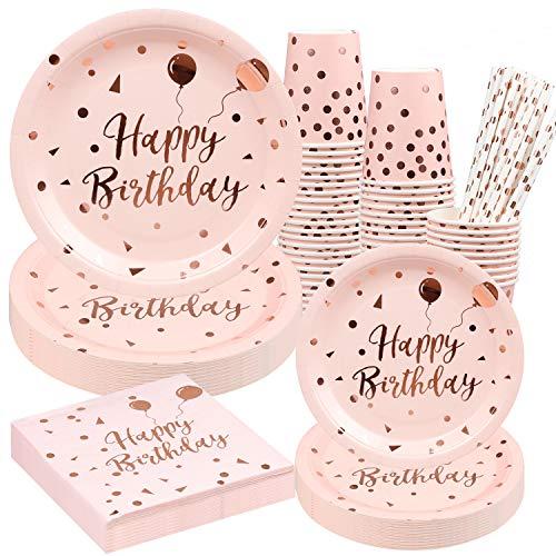 Rorchio Rosa Gold Geburtstag Teller Einweggeschirr 120 Stück rosa Happy Birthday Teller Becher Strohhalme und Servietten für Mädchen Frauen Geburtstagsbedarf, 24 Gäste