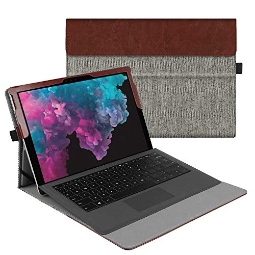 Fintie Case for Microsoft Surface Pro7 / Pro 6 / Pro 5 / Pro 4 / Pro 3 - Multiple Angle Viewing Portfolio Business Cover, Compatible with Type Cover Keyboard, Denim Grey