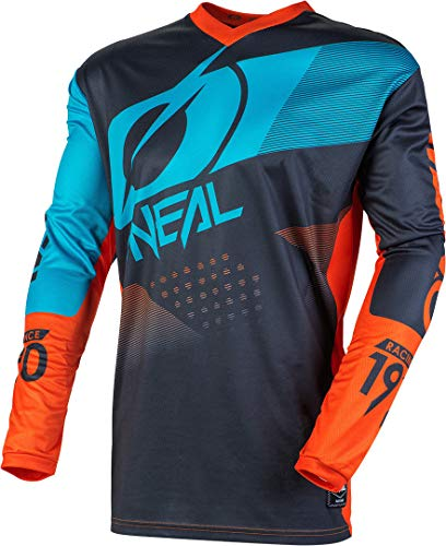 O'Neal Element Factor Kinder Jersey Moto Cross MTB Jugend MX Mountain Bike Trikot Langarm Shirt DH FR, E001, Farbe Grau Orange, Größe L