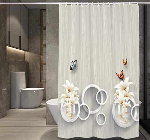 JgZATOA douchegordijn 3D Bloemen Bad Gordijn Badkuip Waterdicht Gordijn Moldproof Polyester Vlinder Gordijn Badkamer180X180Cm