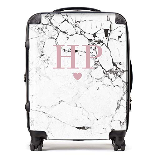 Personalised White & Blush Pink Marble Initials & Heart Monogram Suitcase with TSA Lock 4 Spinner Wheels Large Expandable Luggage 78cm 95Ltr