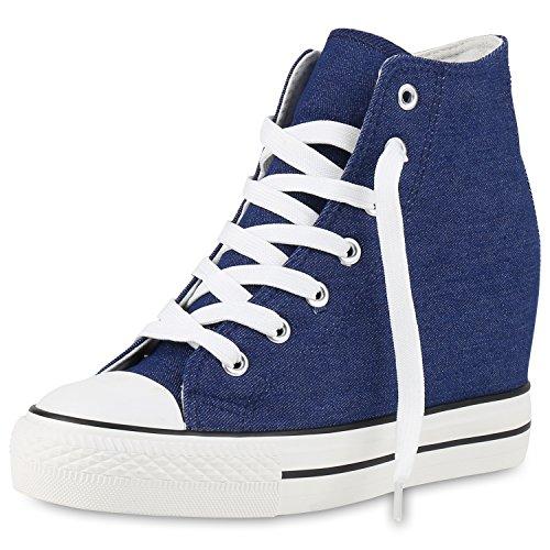 SCARPE VITA Damen Sneakers Keilabsatz Sneaker-Wedges Stoffschuhe Schnürer 160562 Blau Weiss 40