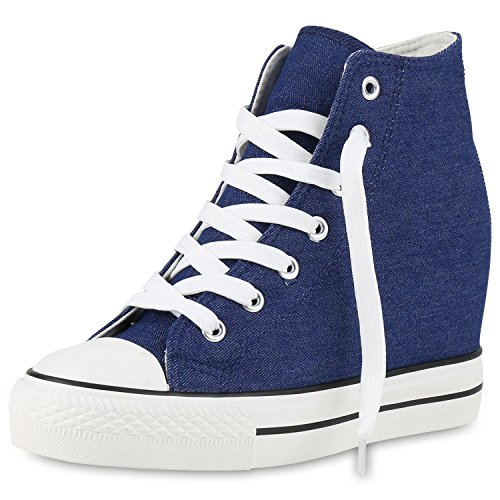 SCARPE VITA Damen Sneakers Keilabsatz Sneaker-Wedges Stoffschuhe Schnürer 160562 Blau Weiss 39