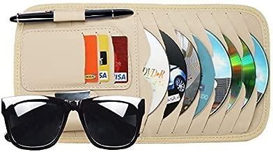 StyleZ CD Sun Visor Organizer Detachable Portable PU Leather with 8 CD Slots + 3 Credit Cards Pockets + 1 Sunglasses Holder + 1 Pen holder (Khaki)