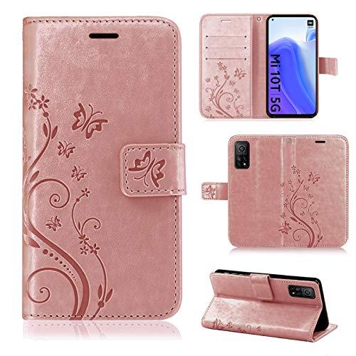 betterfon   Xiaomi MI 10T / Mi 10T Pro Hülle Handy Tasche Handyhülle Etui Wallet Hülle Schutzhülle mit Magnetverschluss/Kartenfächer für Xiaomi Mi 10T / Mi 10T Pro Rosegold